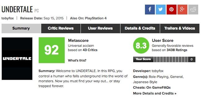 【PS4/Vita】謎のインディーズRPG「UNDERTALE(アンダーテイル)」海外プレイヤーの感想は?