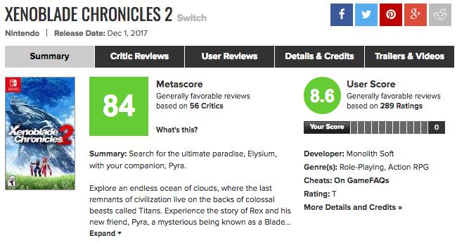 メタスコア高評価!「ゼノブレイド2」海外プレイヤーの反応、レビューまとめ