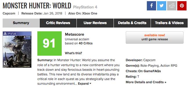 メタスコア確定!PS4「モンスターハンター:ワールド」海外レビューサイトの評価は?