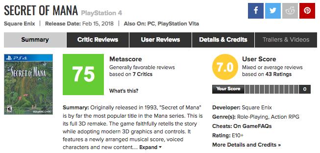 PS4/Vita聖剣伝説2リメイク「SECRET of MANA」メタスコア、海外の評価は?