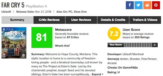 ややマンネリ?「Far Cry(ファークライ)5」メタスコア、海外の評価は?