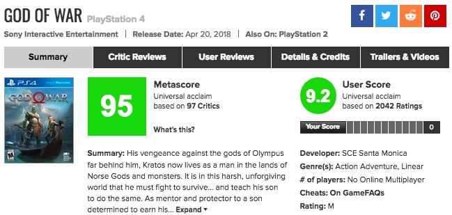 PS4「God of War(ゴッド・オブ・ウォー)」メタスコア、海外の評価は?
