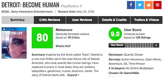 PS4「DETROIT: BECOME HUMAN」海外の評価、メタスコアは?