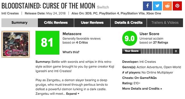 海外の評価が凄い!「Bloodstained: Curse of the Moon」メタスコア、プレイヤーの反応は?