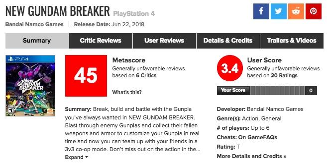 メタスコアも酷かった…PS4「Newガンダムブレイカー」海外の評価は?