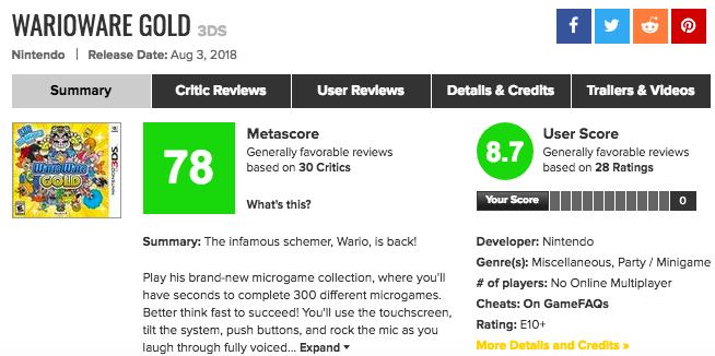 集大成!3DS「メイドインワリオ ゴージャス」メタスコア、海外の反応、評価は?