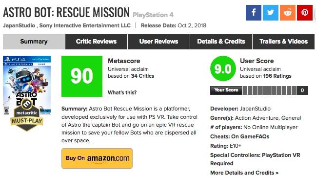 PSVR「ASTRO BOT:RESCUE MISSION」海外プレイヤーの評価も凄かった!メタスコアは?