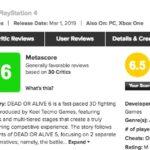PS4/XboxOne「DEAD OR ALIVE 6」人気の海外でやや厳し目?メタスコア、その理由は?