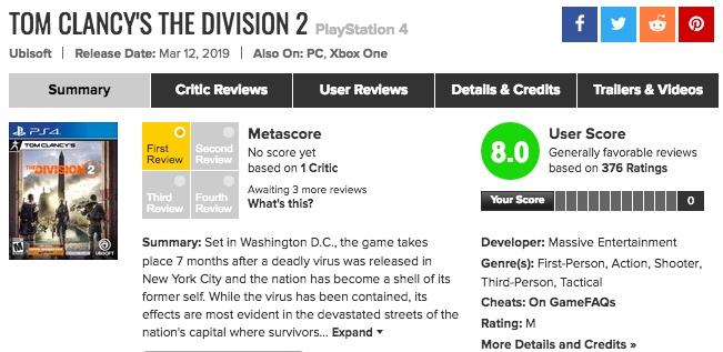 「DIVISION2(ディビジョン2)」メタスコア・海外プレイヤーの評価、感想は?