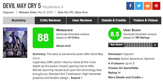 「Devil May Cry V(デビルメイクライ5)」メタスコアが高い!海外プレイヤーの評価、感想は?
