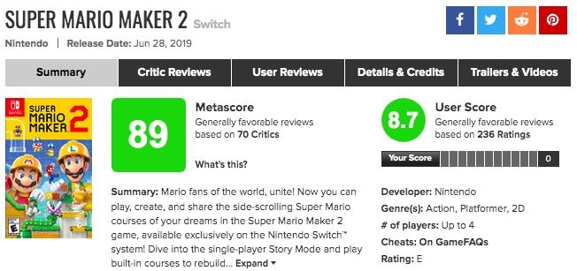 「スーパーマリオメーカー2」海外の評価が高い!メタスコア、人気の理由は?