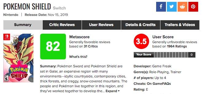これは酷い「ポケモン剣盾」海外の評価がシリーズ最悪?メタスコア、プレイヤーレビュー紹介