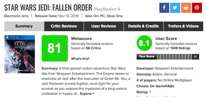 名誉挽回?EA「スター・ウォーズ ジェダイ:フォールン・オーダー」海外プレイヤーの評価、メタスコアは?