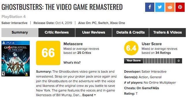 「ゴーストバスターズ:ザ・ビデオゲーム リマスタード」海外プレイヤーの評価、メタスコアは?