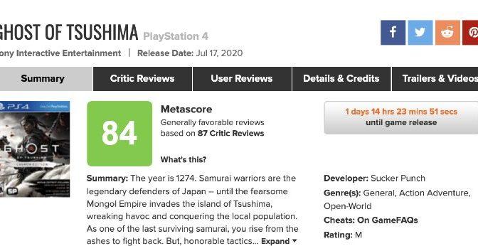 PS4「Ghost of Tsushima(ゴーストオブツシマ)」のメタスコアが意外…?