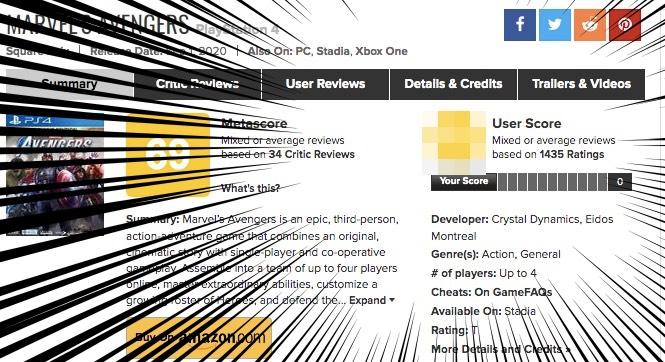PS4アベンジャーズ、海外での評価も酷かった。メタスコアは?