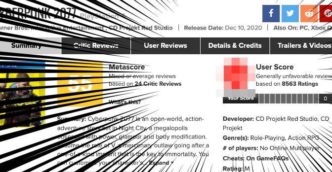 サイバーパンクのメタスコア、海外プレイヤーの評価が酷い…!